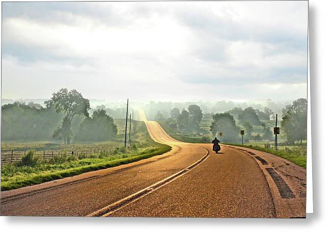 Misty Morning Ride Arkansas Greeting Card