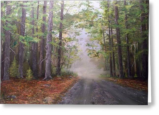 Greeting Card featuring the painting Misty Morning Road by Ken Ahlering