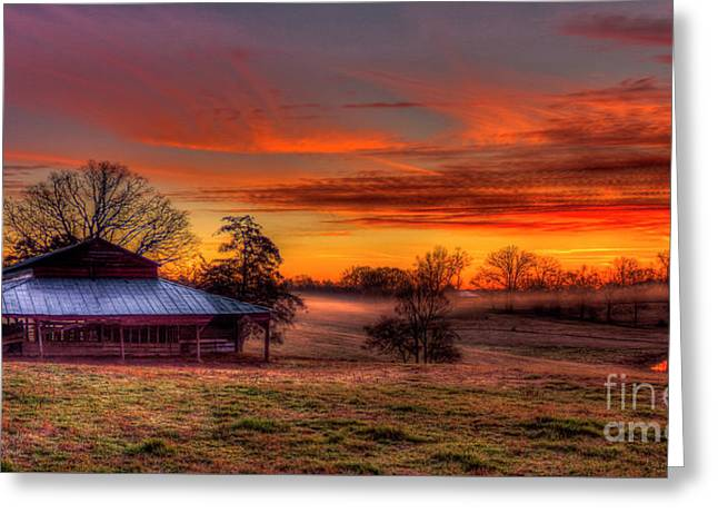 Misty Morning Sunrise Walker Church Road Greeting Card by Reid Callaway