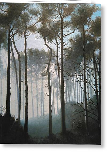 Misty Morning Walk Greeting Card