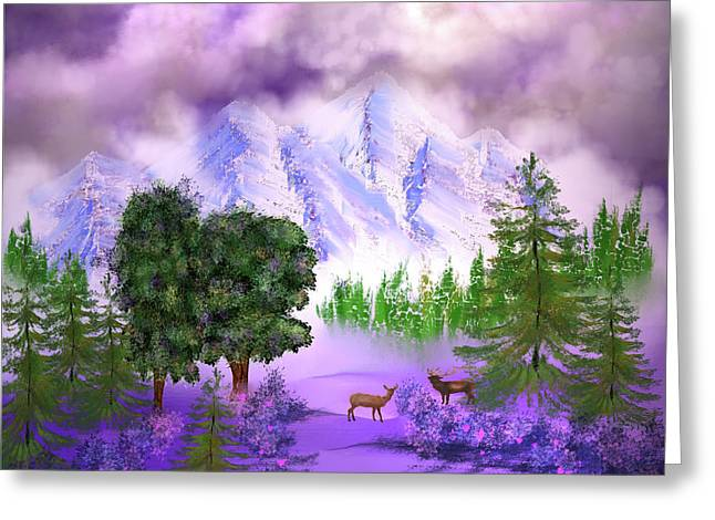 Misty Mountain Deer Greeting Card