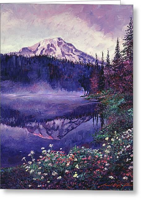 Misty Mountain Lake Greeting Card by David Lloyd Glover