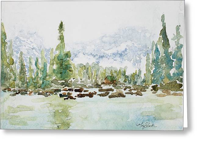 Misty Mountain Lake Greeting Card by Mary Benke