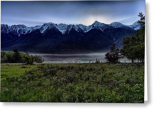 Greeting Card featuring the photograph Misty Mountain Morning Meadow  by Darcy Michaelchuk