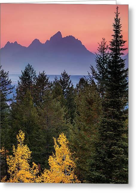 Misty Mountain Sunset Greeting Card