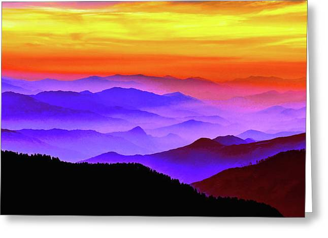 Misty Mountains Sunset Greeting Card