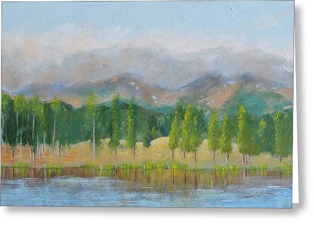 Misty Mountains Greeting Card by Margaret Bobb