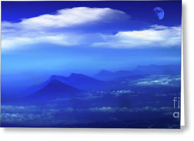 Misty Mountains Of San Salvador Panorama Greeting Card by Al Bourassa