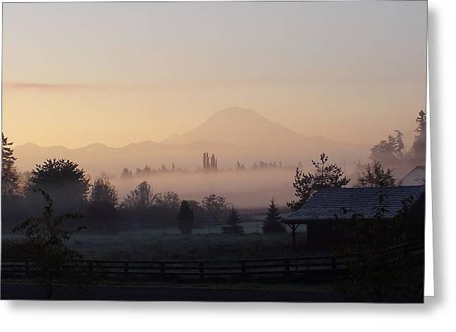 Misty Mt. Rainier Sunrise Greeting Card by Shirley Heyn