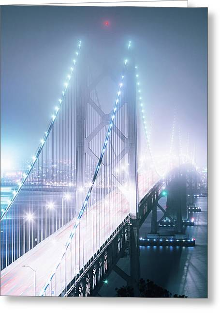 Misty Night, Bay Bridge, San Francisco Greeting Card by Vincent James