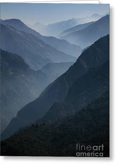 Misty Peaks Greeting Card by Timothy Johnson