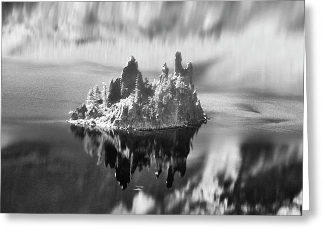 Greeting Card featuring the photograph Misty Phantom Ship Island Crater Lake B W  by Frank Wilson