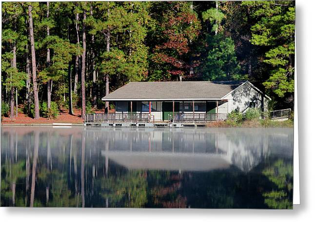 Misty Reflection At Durant Greeting Card by George Randy Bass