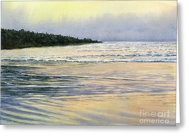 Misty Reflections At Low Tide Greeting Card