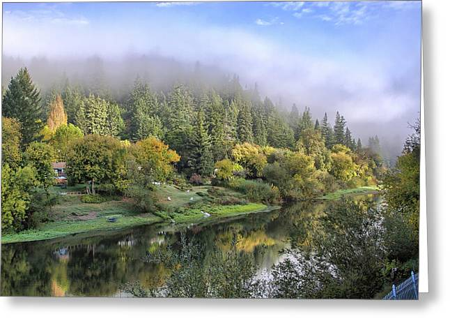 Pinot Noir Greeting Cards - Misty Russian River Greeting Card by Computer Variations