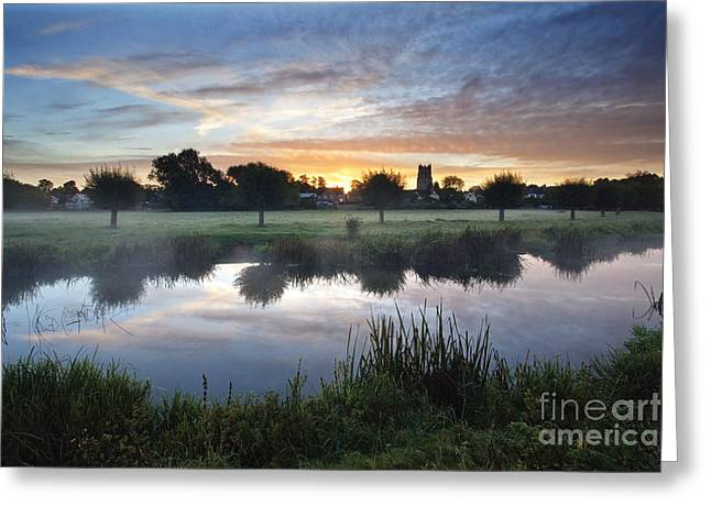 Misty Sunrise At Sudbury Water Meadows Greeting Card by Mark Sunderland