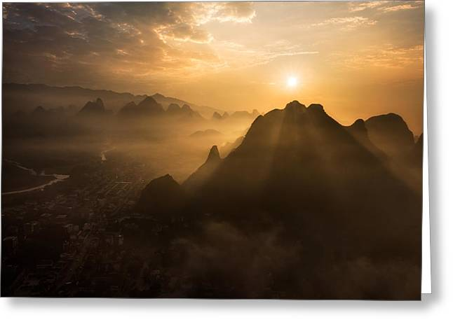 Misty Sunrise Greeting Card by Nadav Jonas