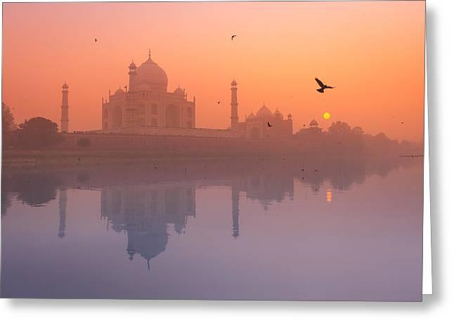 Misty Sunset Greeting Card