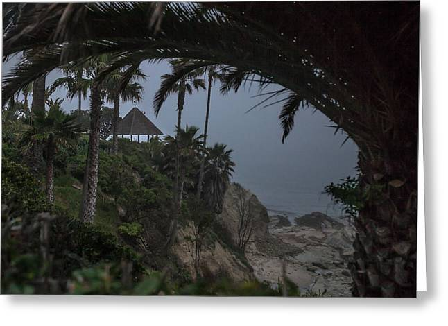 Greeting Card featuring the photograph Misty View Of Gazebo Along Heisler Park by Cliff Wassmann