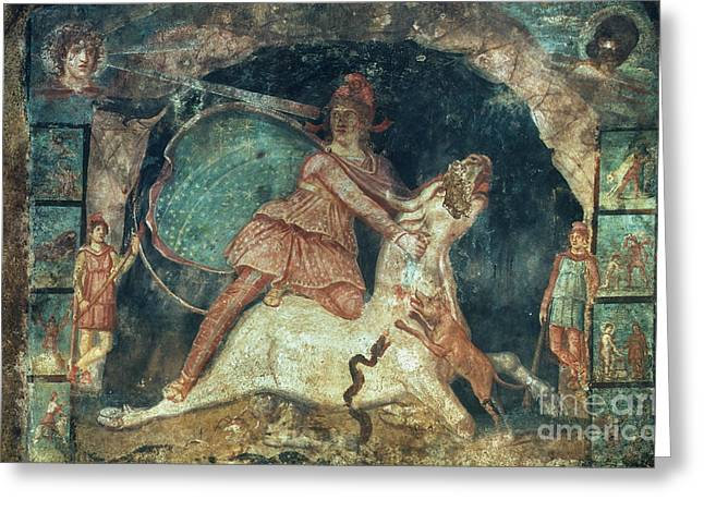 Mithras Killing The Bull Greeting Card by Granger