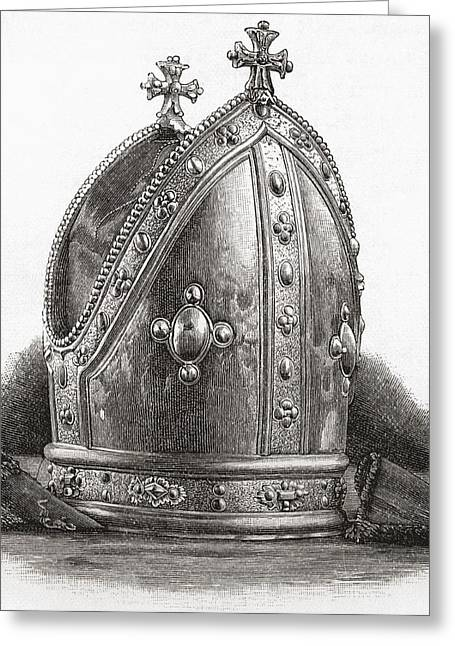 Mitre Of Bishop Wren. Matthew Wren Greeting Card by Vintage Design Pics
