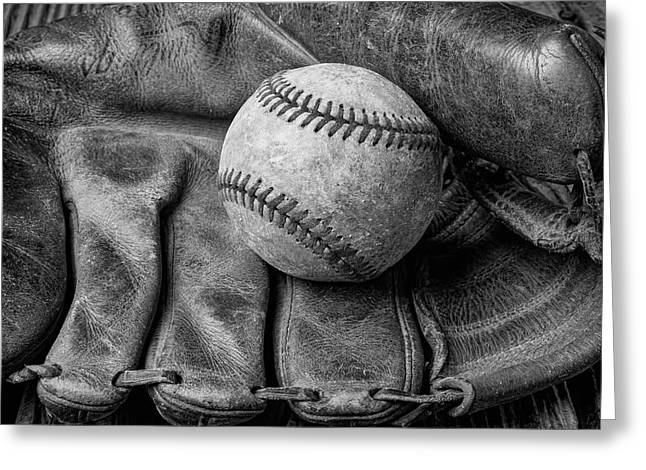 Mitt And Ball Black And White Greeting Card by Garry Gay
