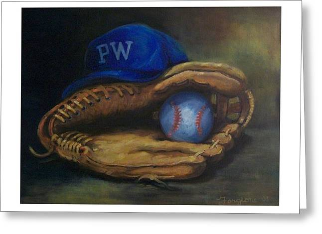 Baseball Paintings Greeting Cards - Mitt and Ball Greeting Card by Tom Forgione