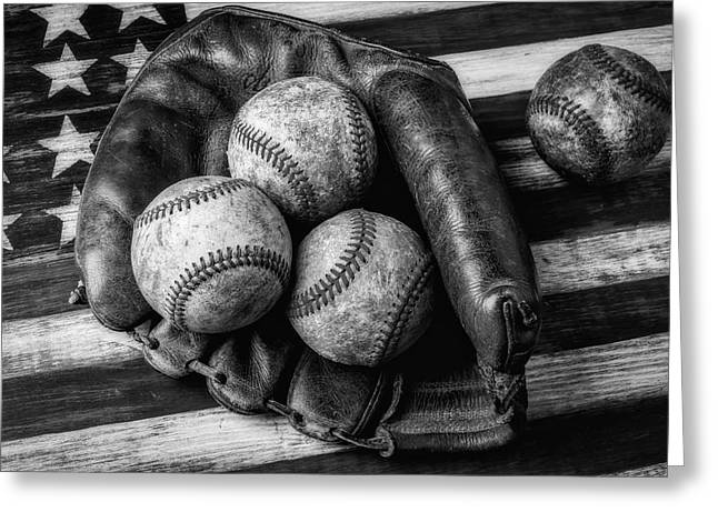 Mitt With Three Balls Black And White Greeting Card by Garry Gay