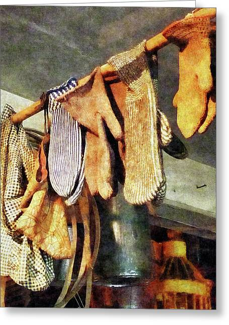 Mittens In General Store Greeting Card by Susan Savad