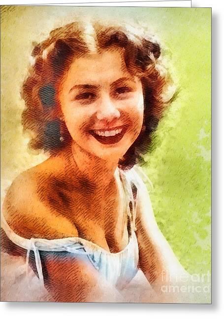 Mitzi Gaynor, Vintage Hollywood Actress Greeting Card by John Springfield