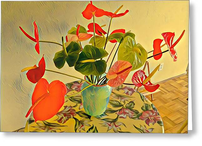 Mixed Aloha Anthuriums Matisse Greeting Card