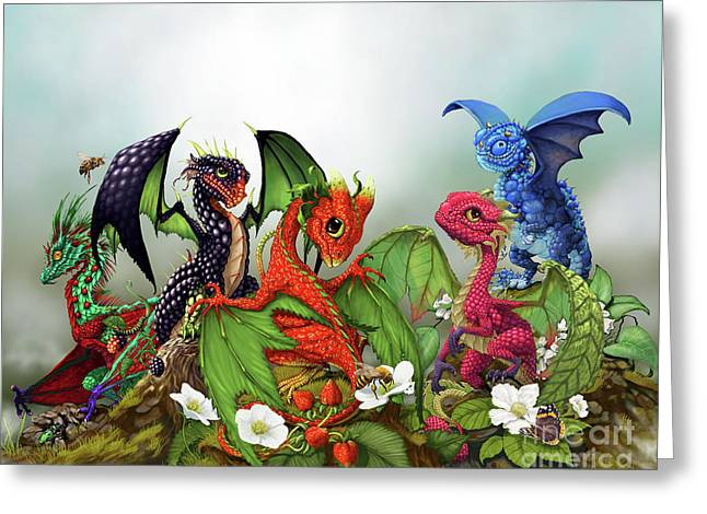 Mixed Berries Dragons Greeting Card