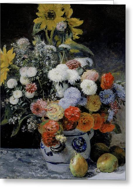 Mixed Flowers In An Earthenware Pot Greeting Card by Auguste Renoir
