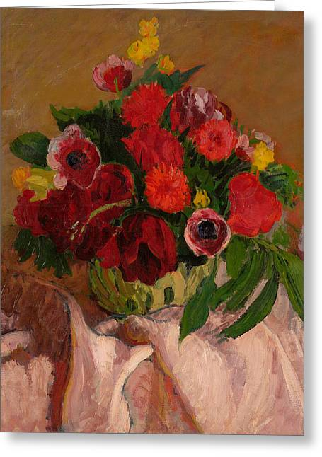 Mixed Flowers On Pink Cloth Greeting Card by Roderic O'Conor