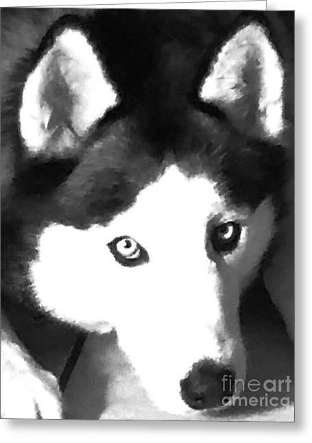 Mixed Media Expressive Siberian Husky A40417 Greeting Card by Mas Art Studio