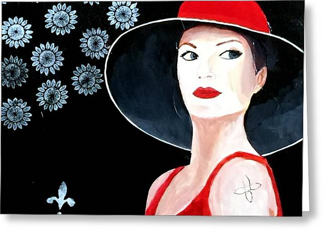 Mixed Media Painting Woman Red Hat Greeting Card