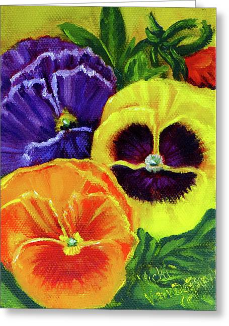 Mixed Pansies Greeting Card