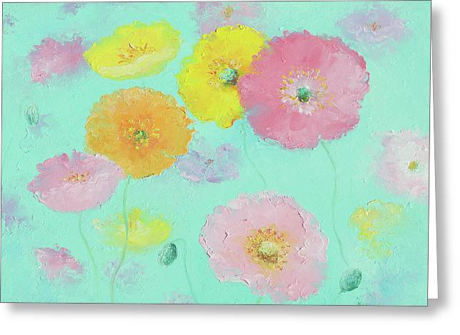 Mixed Poppies Greeting Card by Jan Matson