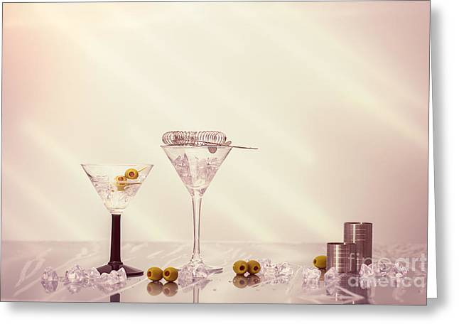 Mixing Cocktails Greeting Card by Amanda Elwell