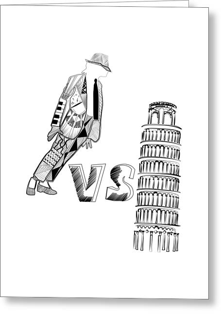 Mj Vs Pisa Greeting Card by Serkes Panda