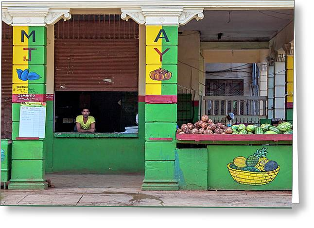 Greeting Card featuring the photograph Mjay Fruit Stand Havana Cuba by Charles Harden