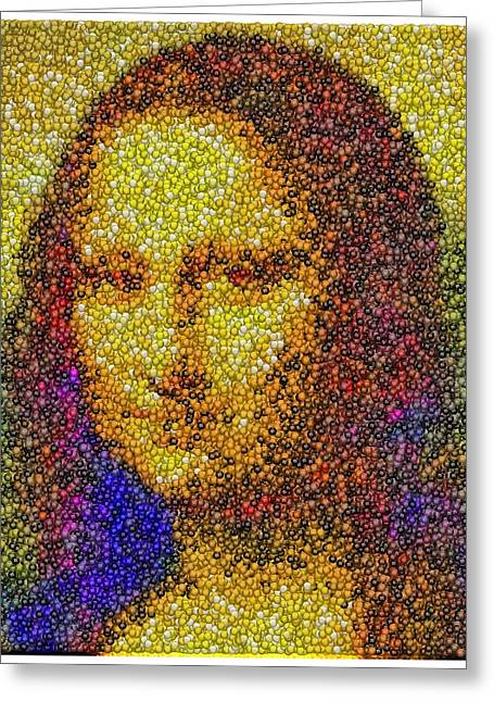 Greeting Card featuring the mixed media Mm Candies Mona Lisa by Paul Van Scott