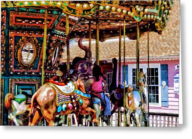 Merry Go Round With Elephants Greeting Card