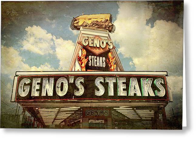 Mmmm -- Cheesesteaks At Geno's Greeting Card