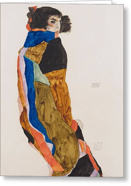 Moa 1911 Greeting Card by Egon Schiele