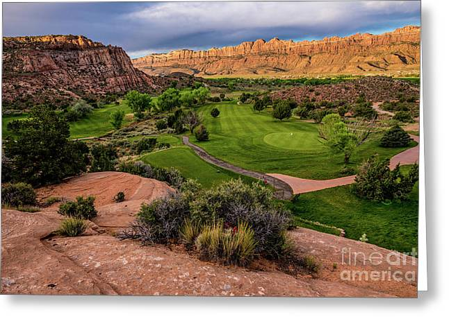 Moab Desert Canyon Golf Course At Sunrise Greeting Card