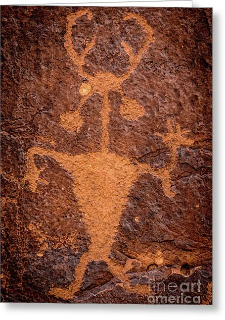 Moab Man Petroglyph Portrait - Utah Greeting Card by Gary Whitton