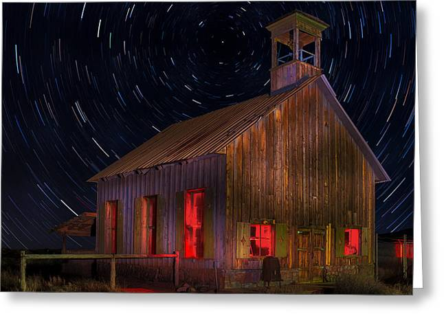 Moab Schoolhouse Star Trails Greeting Card by Jerry Fornarotto