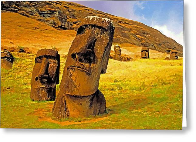 Moai Greeting Card by Dennis Cox