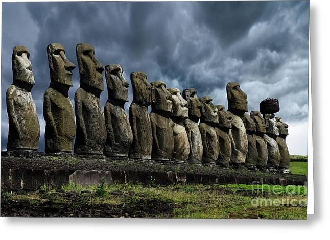 Moai Easter Island Rapa Nui 9 Greeting Card by Bob Christopher